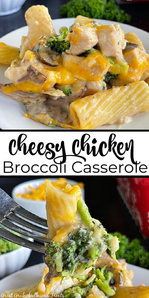 A double collage photo of chicken broccoli casserole with cheese and the title of the recipe in the center.