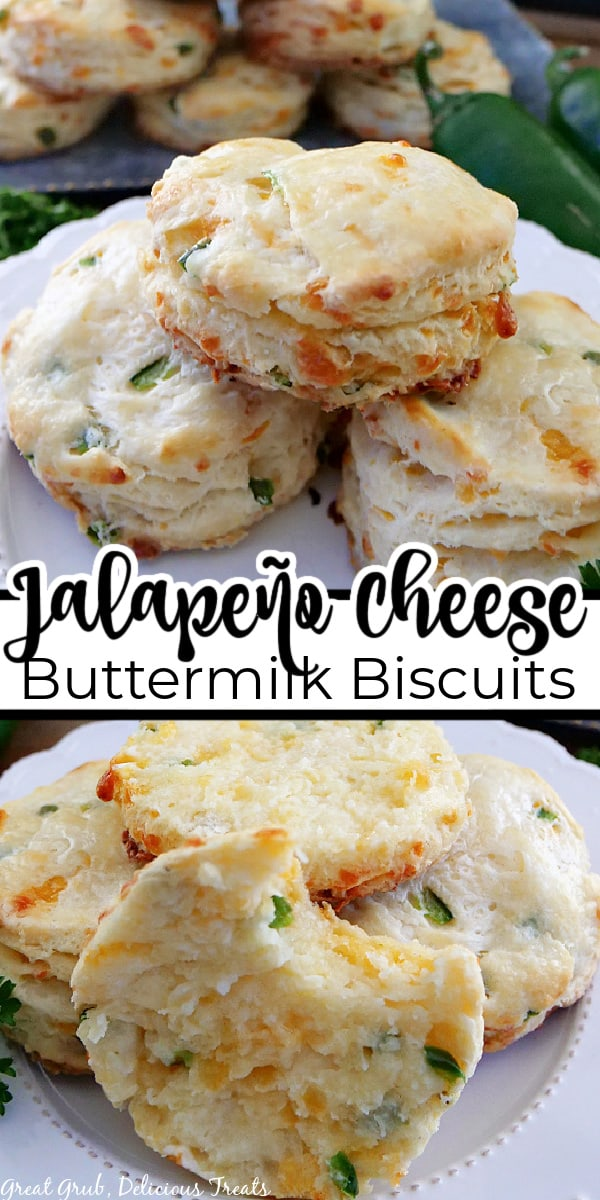 A double collage photo with jalapeno cheddar biscuits on a white plate with the title of the recipe in the center of the photo.