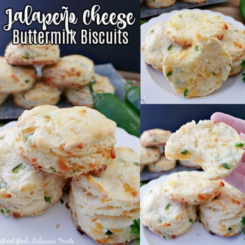 A three photo collage of jalapeno cheddar cheese biscuits with diced jalapenos. A delicious side to any meal.