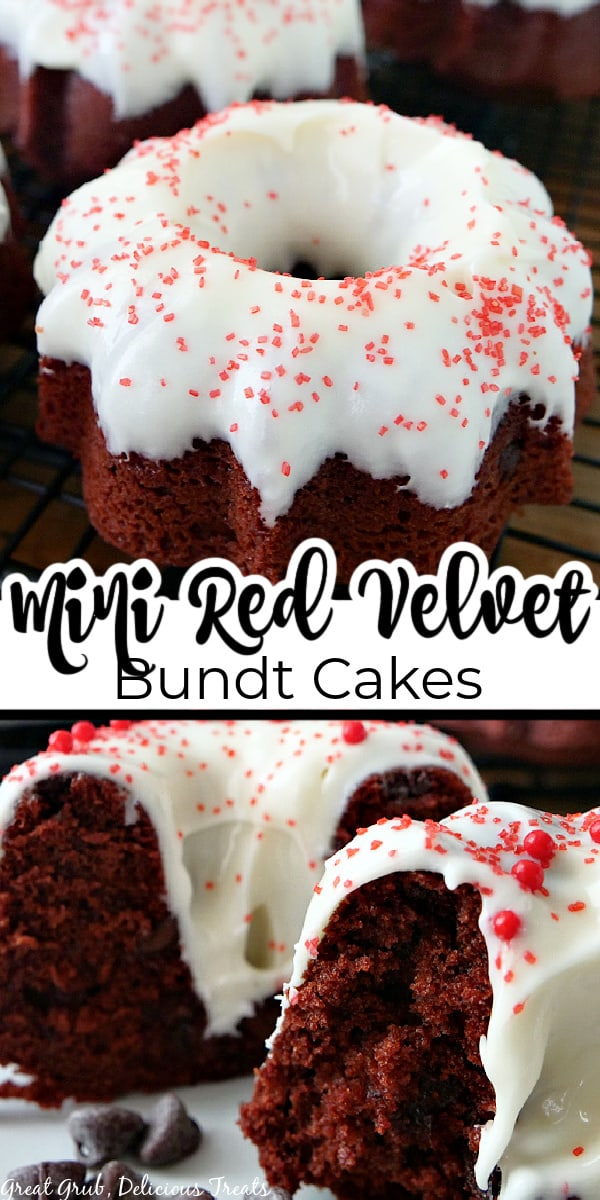 A double collage photo of mini red velvet bundt cakes with the title of the recipe in the center of the photo.