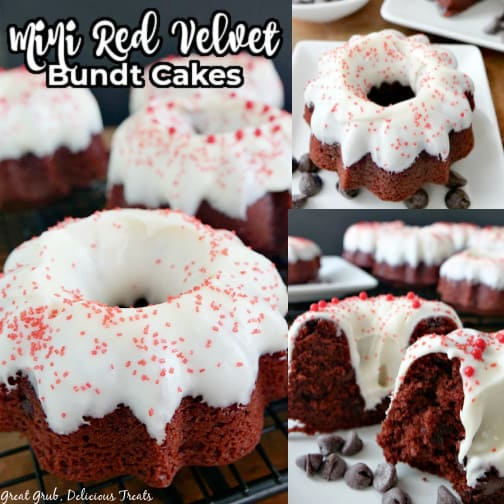 A three collage photo of mini red velvet Bundt cakes on a white plate.