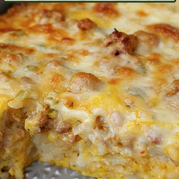 A 13x9 baking dish with sausage and egg breakfast casserole in it.