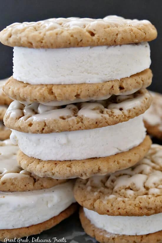 Four ice cream sandwiches stacked on top of each other.