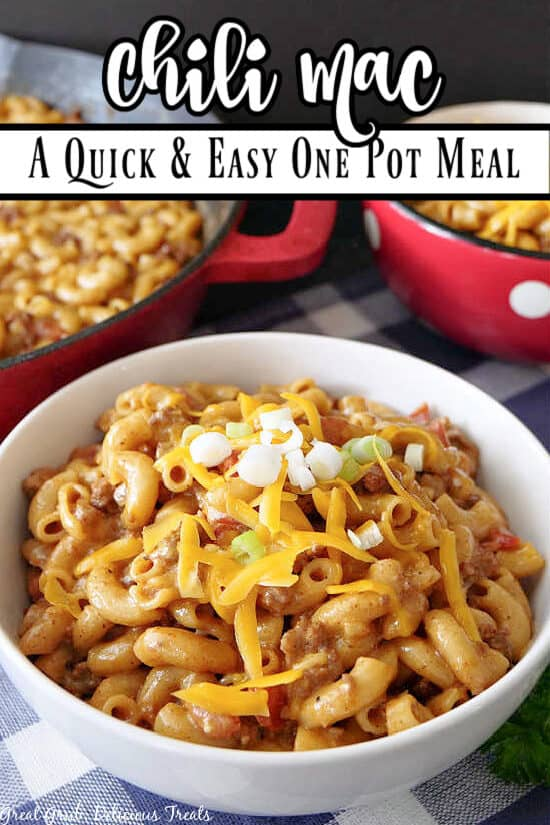 Chili Mac in a white bowl with the title at the top.