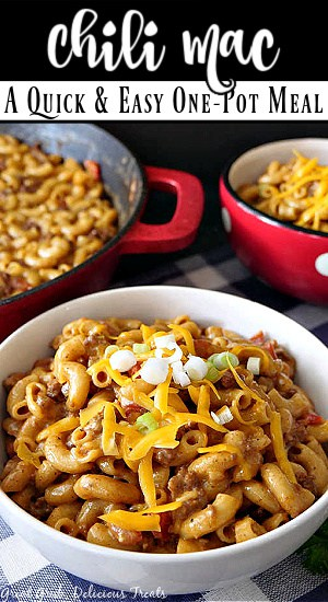 Chili Mac in a white bowl with the title at the top center.